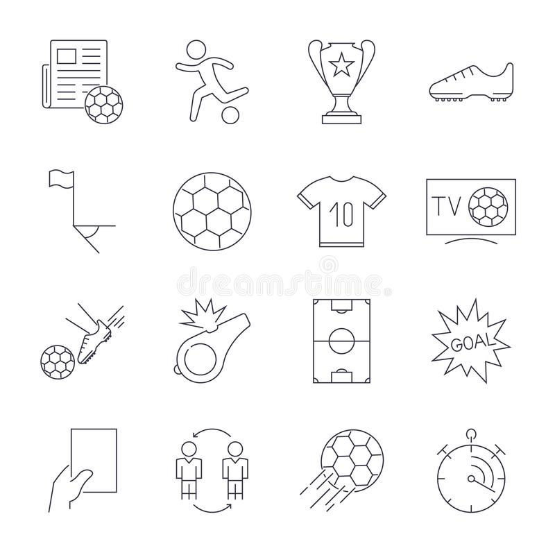 Geplaatste voetbalpictogrammen Editableslag royalty-vrije illustratie