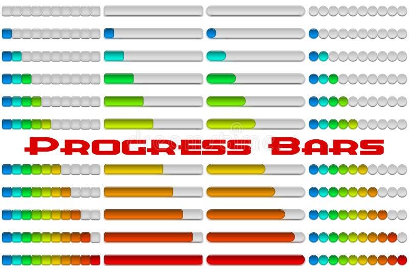 Geplaatste vooruitgangsbars stock illustratie