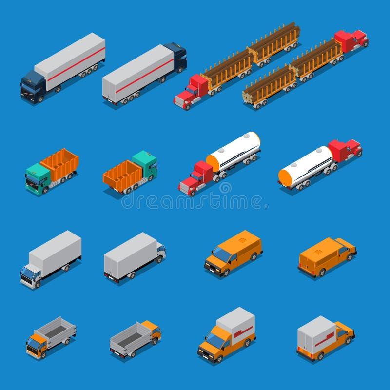 Geplaatste vrachtwagens Isometrische Pictogrammen stock illustratie