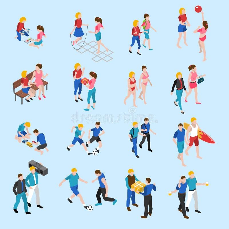 Geplaatste vrienden Isometrische Pictogrammen stock illustratie
