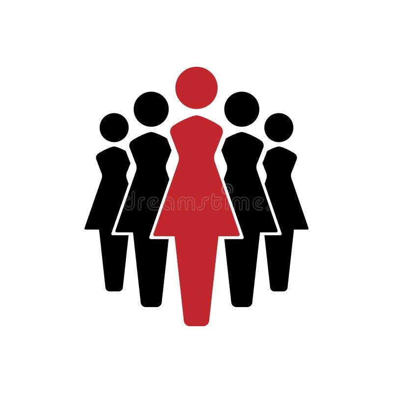 Geplaatste vrouwenpictogrammen, de groep van het teampictogram Vector illustratie EPS10 vector illustratie