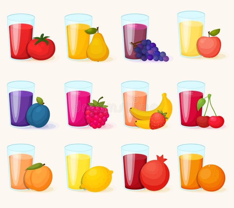 Geplaatste vruchtesappenpictogrammen vector illustratie
