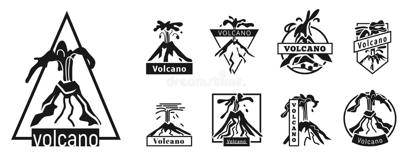 Geplaatste vulkaanpictogrammen, eenvoudige stijl vector illustratie