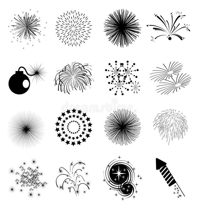 Geplaatste vuurwerkpictogrammen stock illustratie