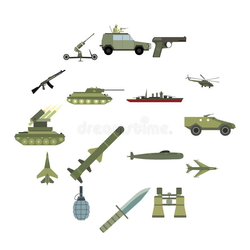 16 geplaatste wapen vlakke pictogrammen stock illustratie