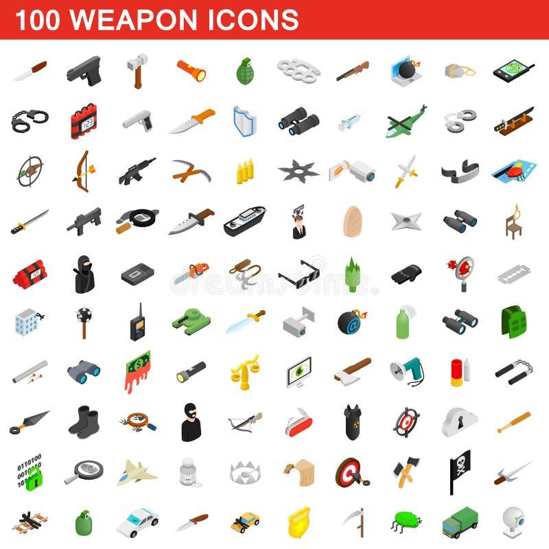 100 geplaatste wapenpictogrammen, isometrische 3d stijl stock illustratie