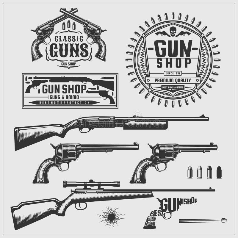 Geplaatste wapens Emblemen en etiketten Vector illustratie royalty-vrije illustratie