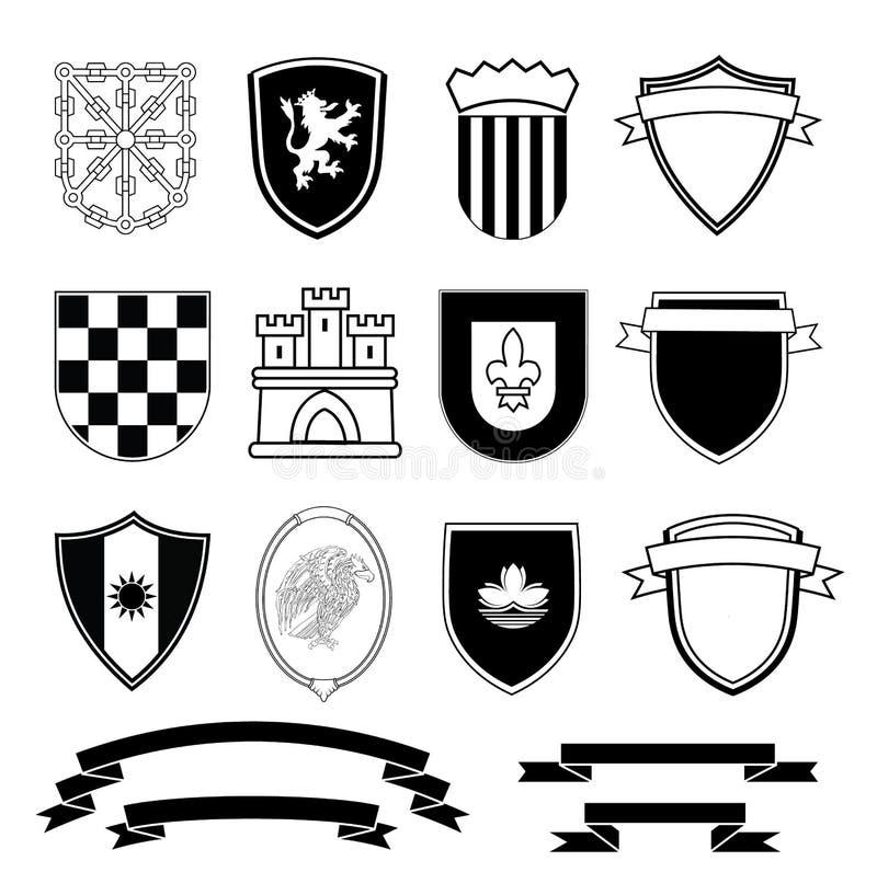 Geplaatste wapenschildelementen, vectorillustratie stock illustratie