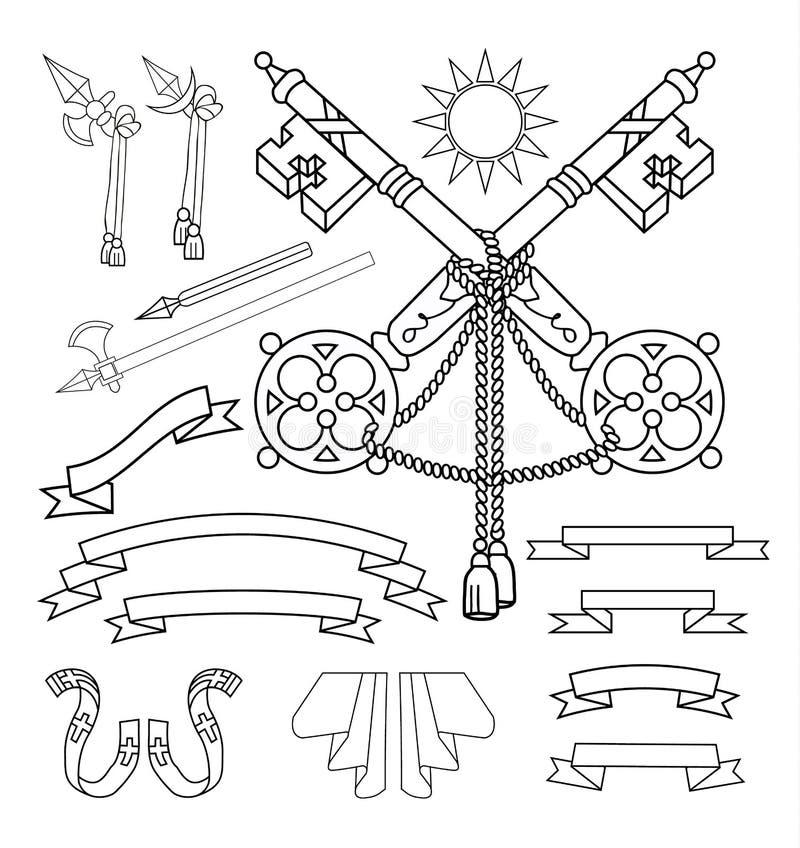 Geplaatste wapenschildelementen, vectorillustratie royalty-vrije illustratie