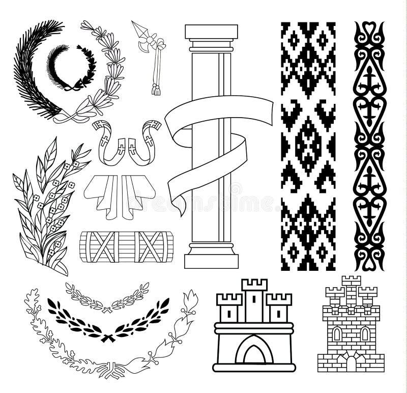 Geplaatste wapenschildelementen, vectorillustratie vector illustratie