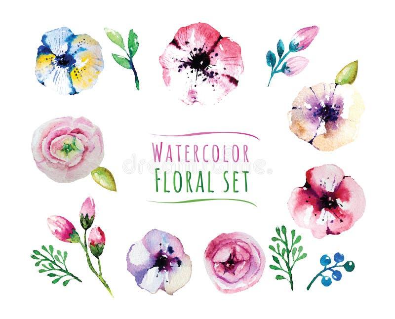 Geplaatste Watercolorfloralselementen Uitstekende bladeren vector illustratie