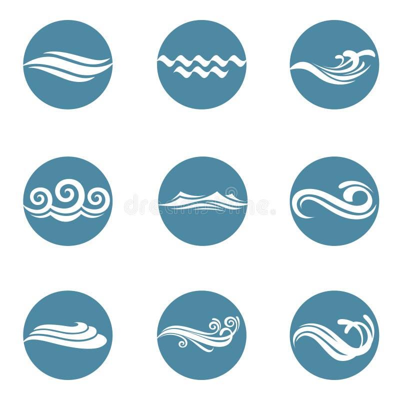 Geplaatste waterpictogrammen stock illustratie