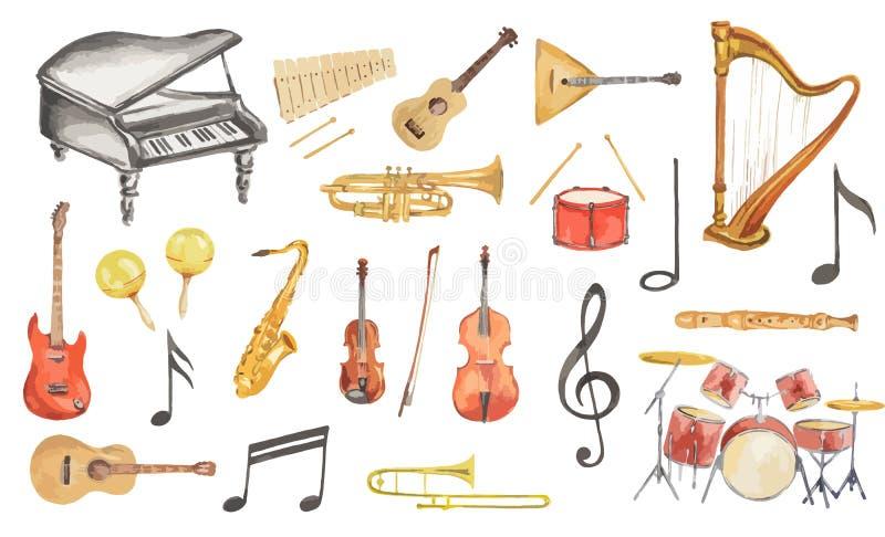 Geplaatste waterverf muzikale instrumenten stock illustratie