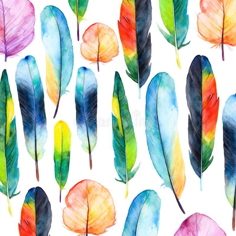 Geplaatste waterverfveren Hand getrokken vectorillustratie met kleurrijke veren royalty-vrije illustratie