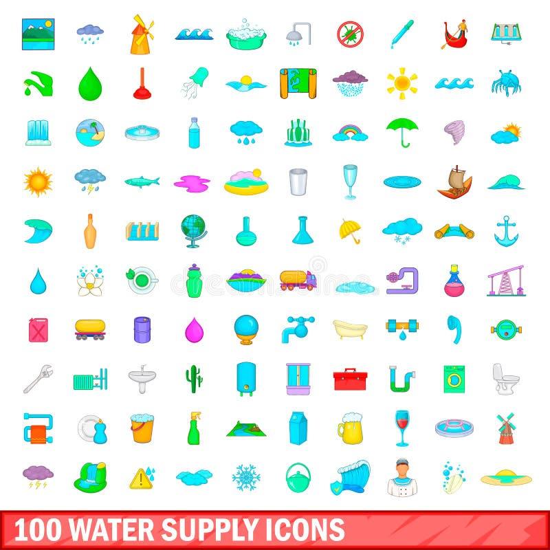 100 geplaatste watervoorzieningspictogrammen, beeldverhaalstijl stock illustratie