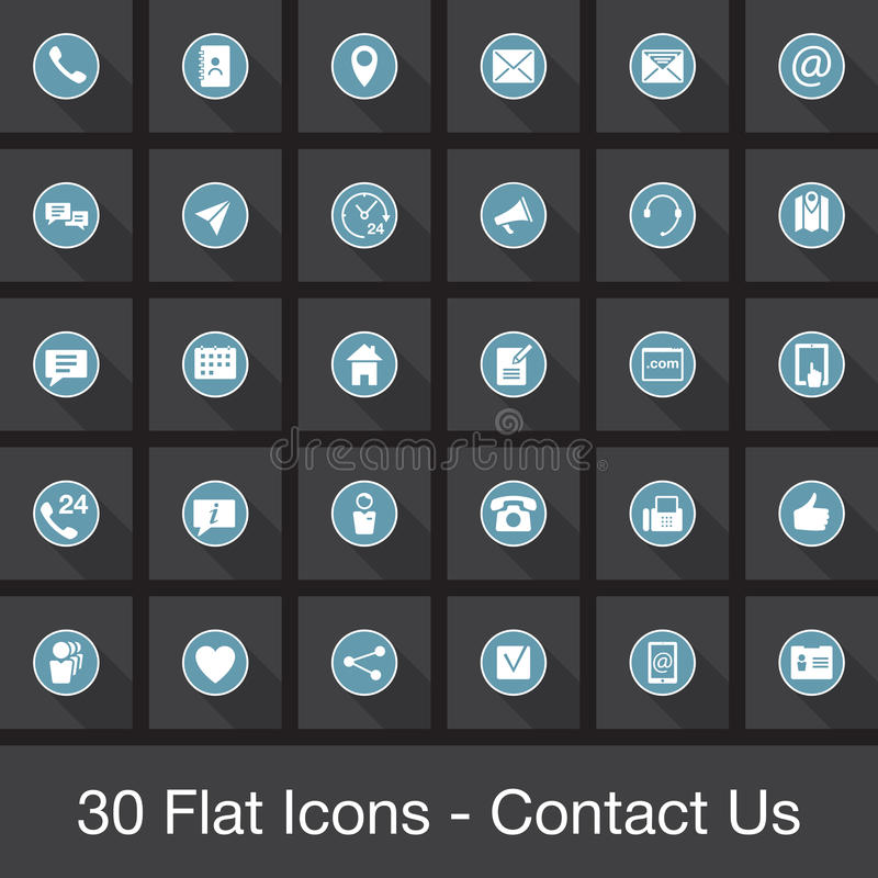 Geplaatste Web vlakke pictogrammen - contacteer ons vector illustratie