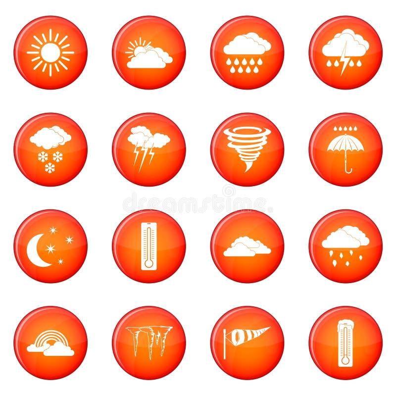 Geplaatste weer vastgestelde pictogrammen vector illustratie