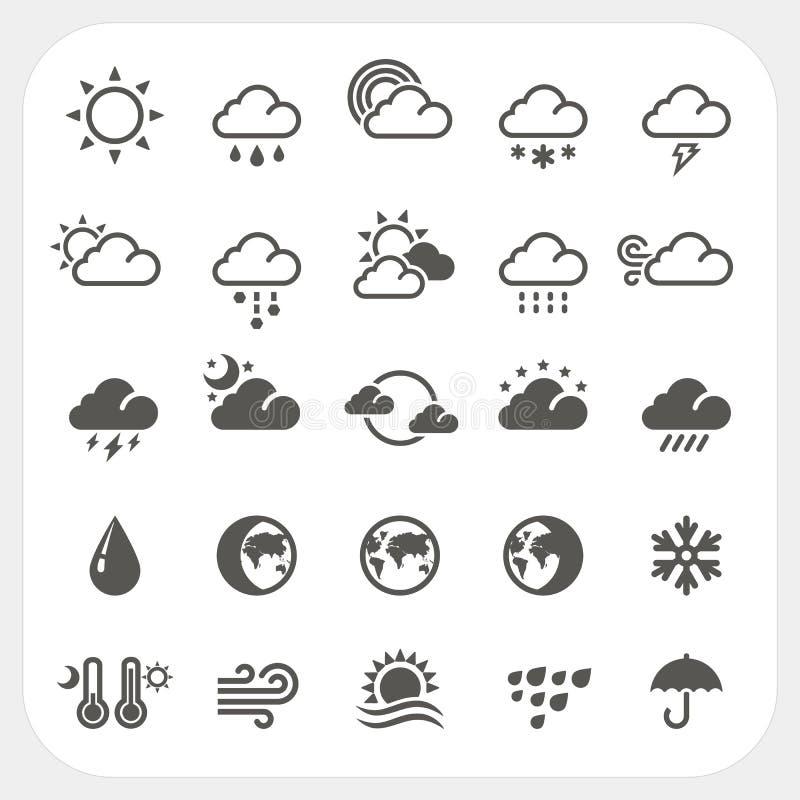 Geplaatste weerpictogrammen stock illustratie