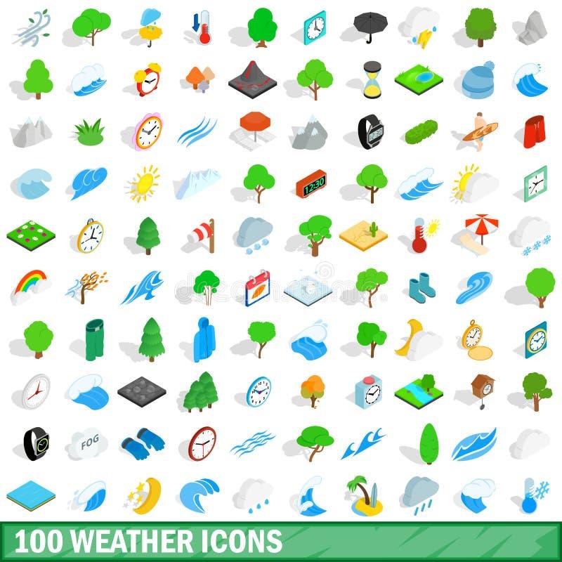 100 geplaatste weerpictogrammen, isometrische 3d stijl stock illustratie