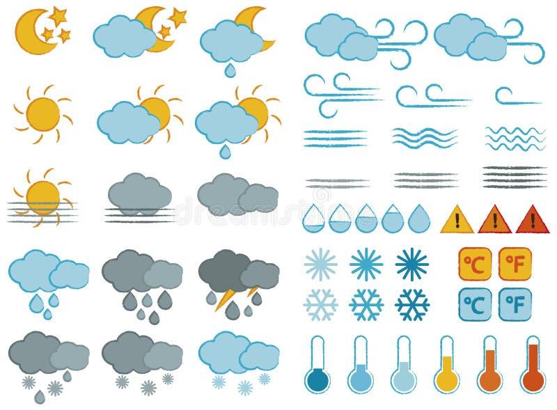Geplaatste weersymbolen en pictogrammen stock illustratie