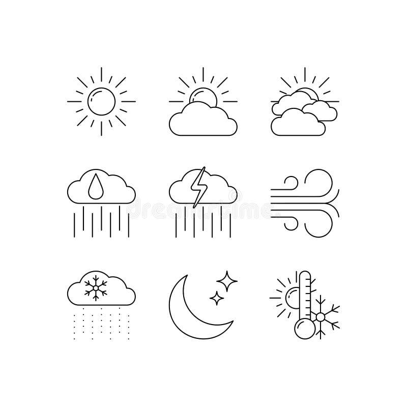 Geplaatste weervoorspellings vectorpictogrammen royalty-vrije illustratie