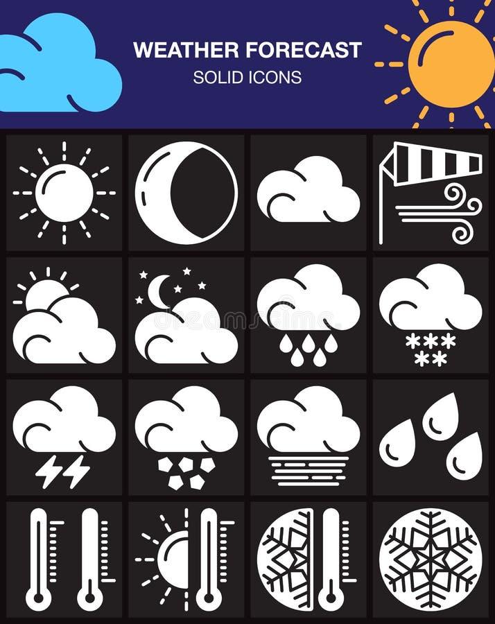 Geplaatste weervoorspellingspictogrammen, moderne stevige symboolinzameling, wit die pictogrampak op zwarte wordt geïsoleerd vector illustratie