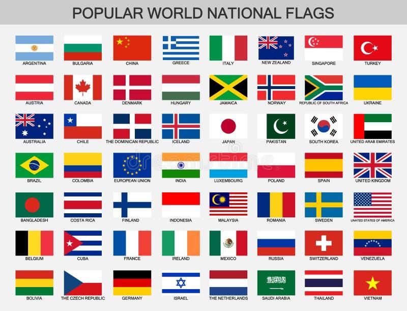 Geplaatste wereld nationale vlaggen, de officiële inzameling van de natiesvlag royalty-vrije illustratie