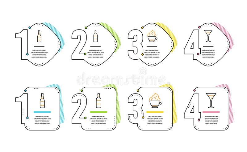 Geplaatste wijnfles, Bierfles en de pictogrammen van de Cappuccinoroom Martini-glasteken Vector vector illustratie