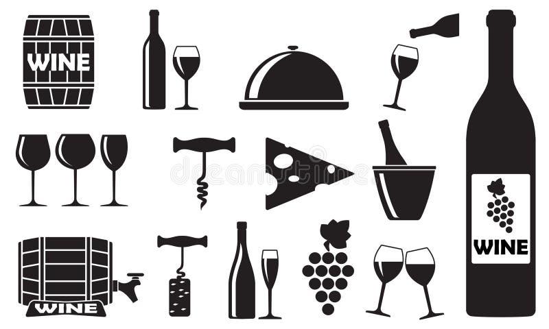Geplaatste wijnpictogrammen: fles, opener, glas, druif, vat Ontwerpelementen voor restaurant, voedsel en drank Vector illustratie vector illustratie