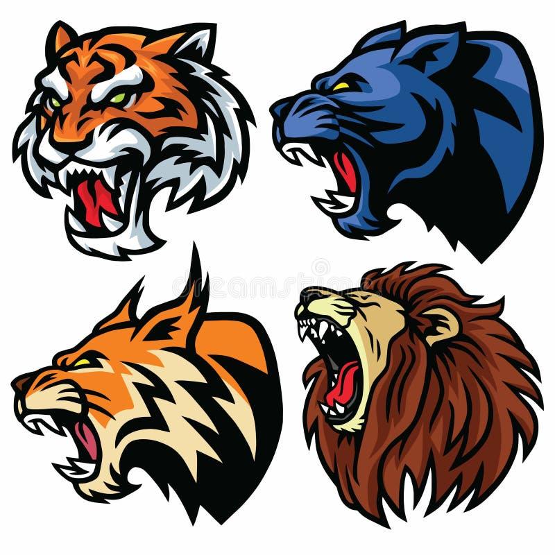 Geplaatste wilde dierenhoofden Leeuw, Tijger, Jaguar, Lynx - Vectormascotte Logo Design stock illustratie