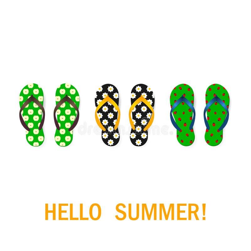 Geplaatste wipschakelaars Geïsoleerd vectorontwerp De zomerachtergrond stock illustratie