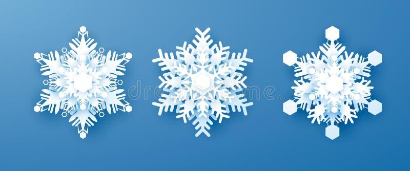 Geplaatste Witboeksneeuwvlokken Nieuwjaar en Kerstmisdecoratie Vectordieillustratie op BLEU-achtergrond wordt geïsoleerd royalty-vrije illustratie