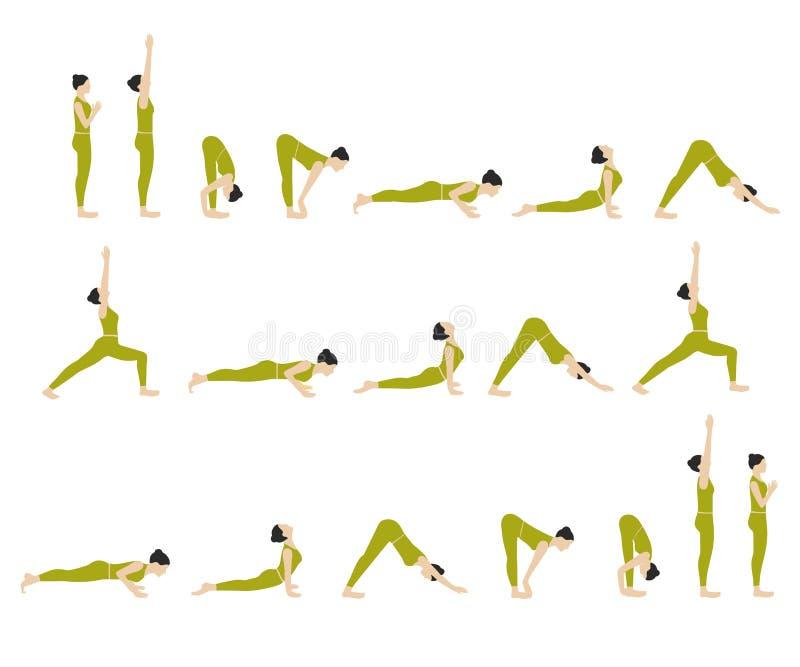 Geplaatste yogaoefeningen royalty-vrije illustratie