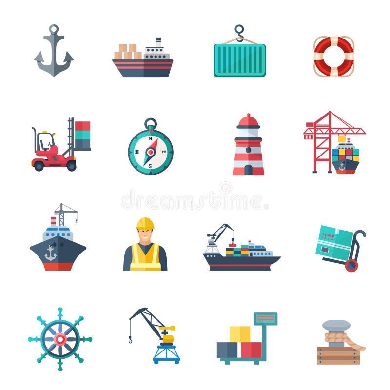 Geplaatste zeehavenpictogrammen royalty-vrije illustratie