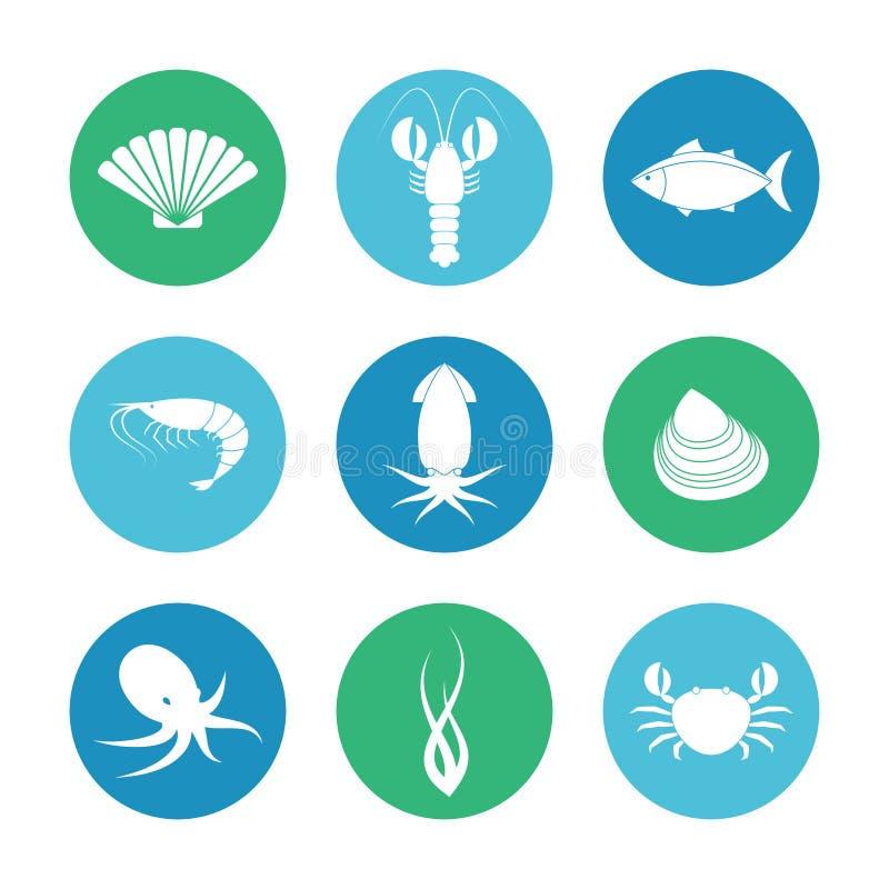 Geplaatste zeevruchtenpictogrammen vector illustratie