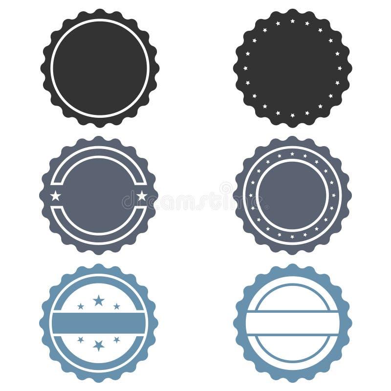 Geplaatste zegels grafische pictogrammen stock illustratie