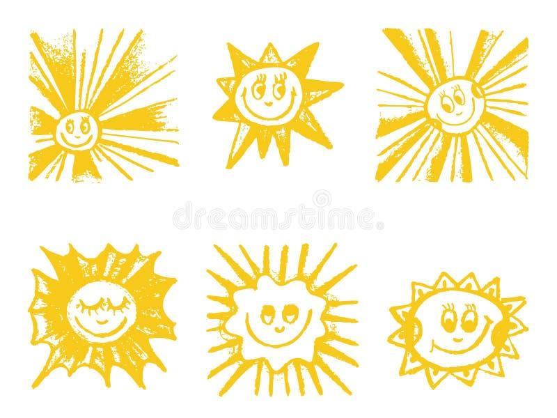 Geplaatste zonsymbolen. vector illustratie