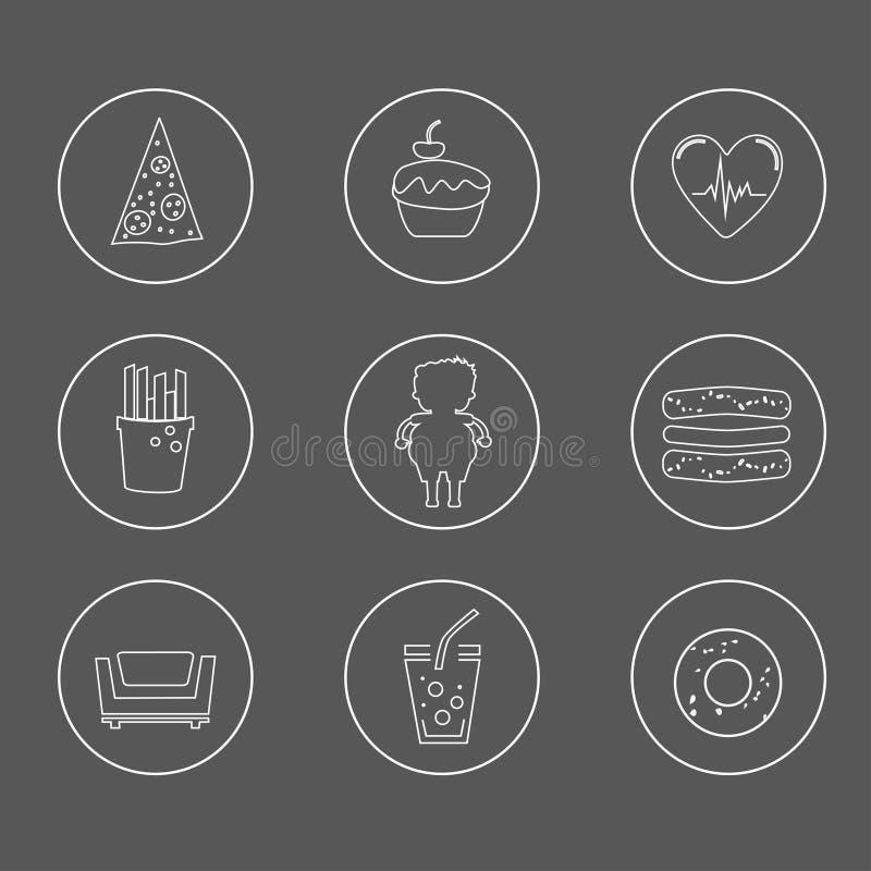 Geplaatste zwaarlijvigheidspictogrammen royalty-vrije illustratie