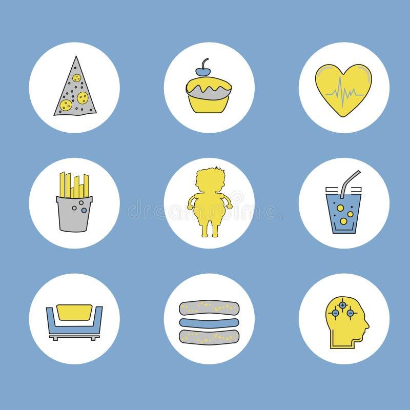 Geplaatste zwaarlijvigheidspictogrammen stock illustratie