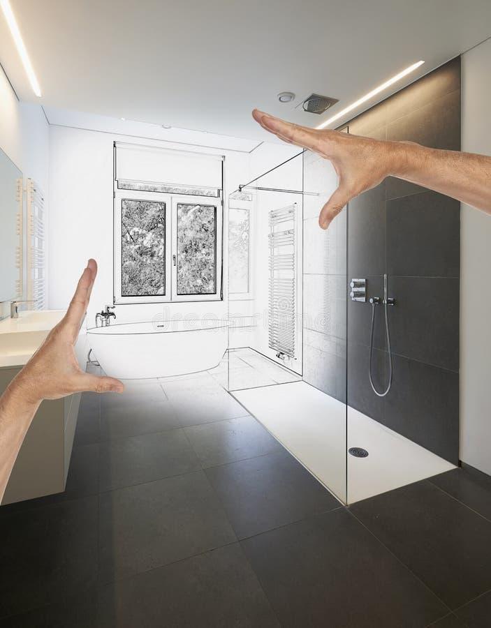 Geplande Vernieuwing Van Een Luxe Moderne Badkamers Stock ...