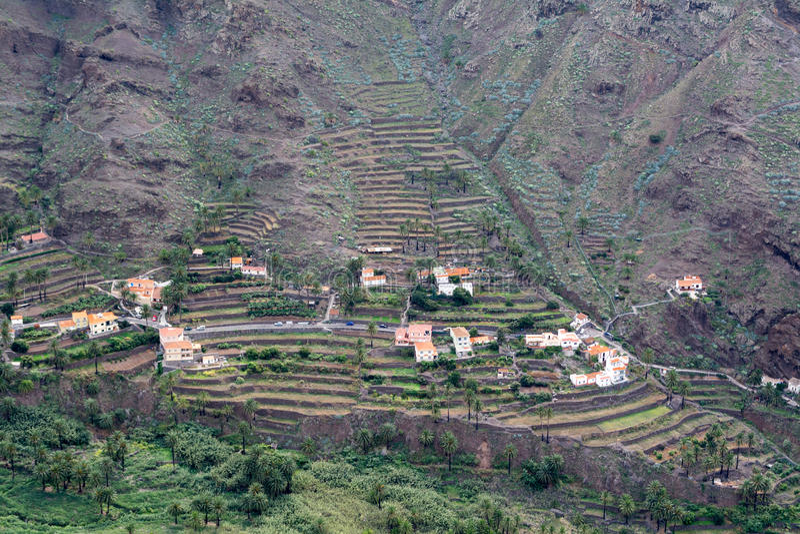 Geplante bergterrassen, valle gran rey, gomera, Spanje royalty-vrije stock foto's