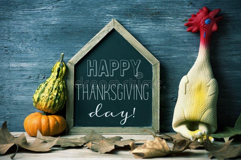 Geplukt gelukkig thanksgiving day van Turkije en van de tekst stock fotografie