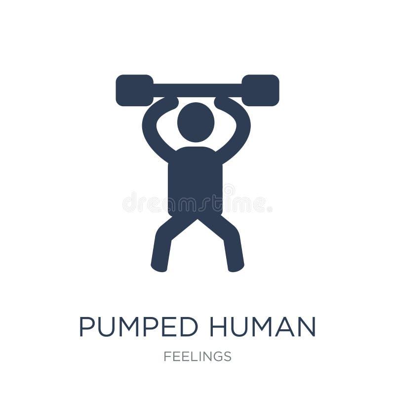 gepompt menselijk pictogram De in vlakke vector pompte menselijk pictogram op wit stock illustratie