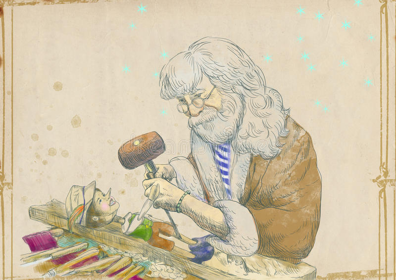 Geppetto making Pinocchio. Mister Geppetto as a woodcarver carves from wood-block his son Pinocchio. Full-sized drawing (useful for live trace converting for the stock illustration