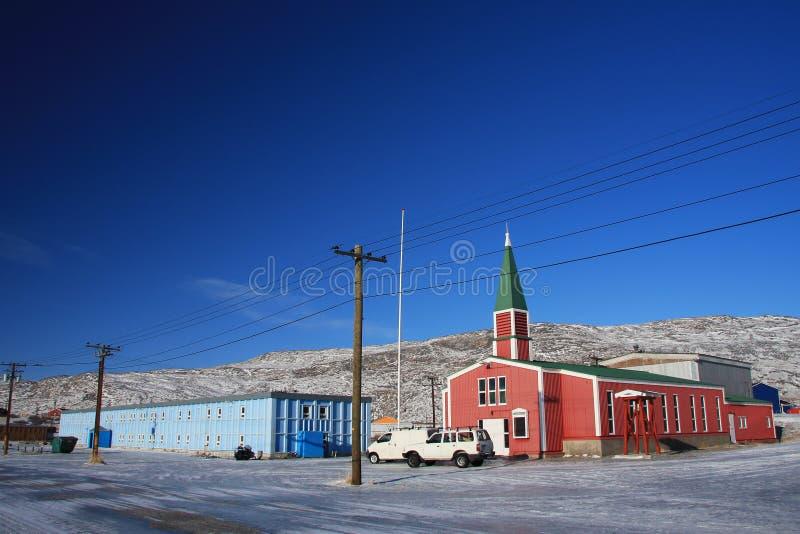 Geprefabriceerde kerk in Kangerlussuaq, Groenland i royalty-vrije stock foto's