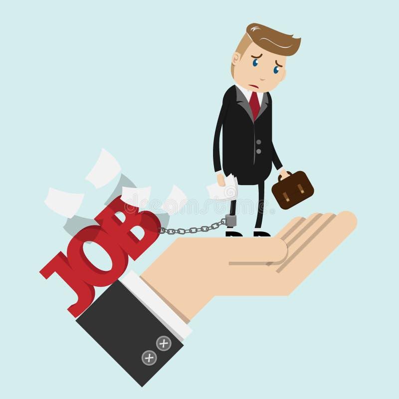 Geprobeerde zakenman in het kostuumwerk met in hand administratie, geketend stock illustratie
