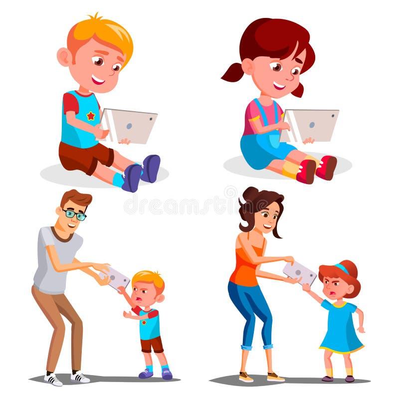 Gerät-Abhängigkeits-Vektor der Kinds Vater, Mutter nimmt Smartphone von der Tochter Hand gezeichnete vektorabbildung auf Weiß mod lizenzfreie abbildung