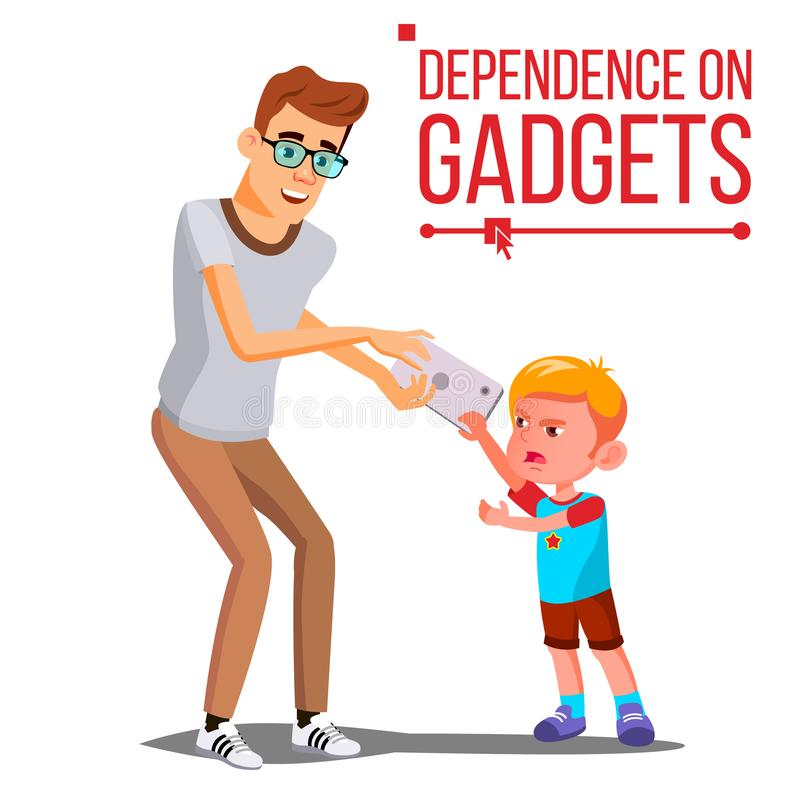 Gerät-Abhängigkeits-Vektor der Kinds Vater-Takes Smartphone From-Sohn Hand gezeichnete vektorabbildung auf Weiß Lokalisierte Kari stock abbildung