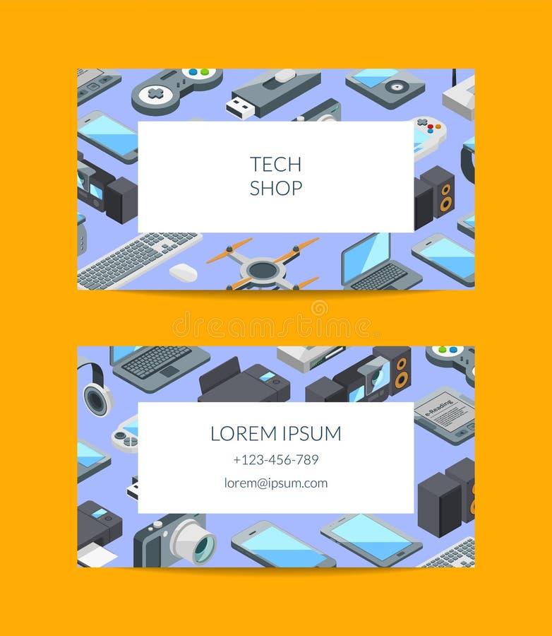 Gerät-Ikonenvisitenkarte des Vektors isometrische lizenzfreie abbildung