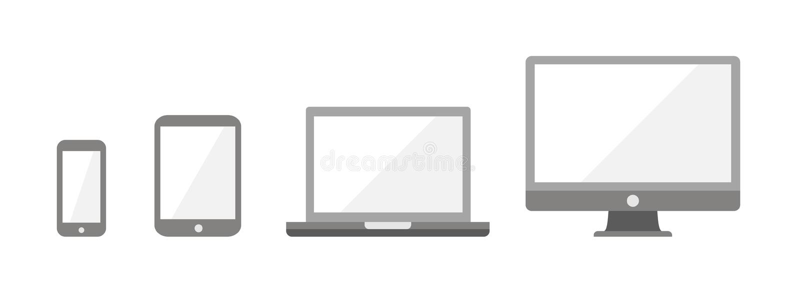 Gerät Infographic-Ikonen: Smartphone, Tablet, Laptop, stock abbildung